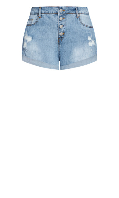 Denim Cuff Short - light denim