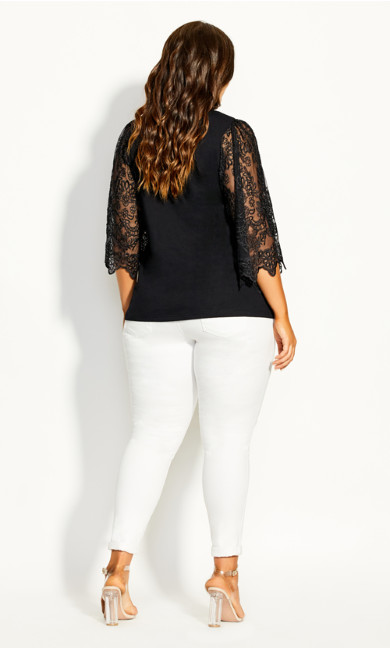 Embroidered Angel Top - black