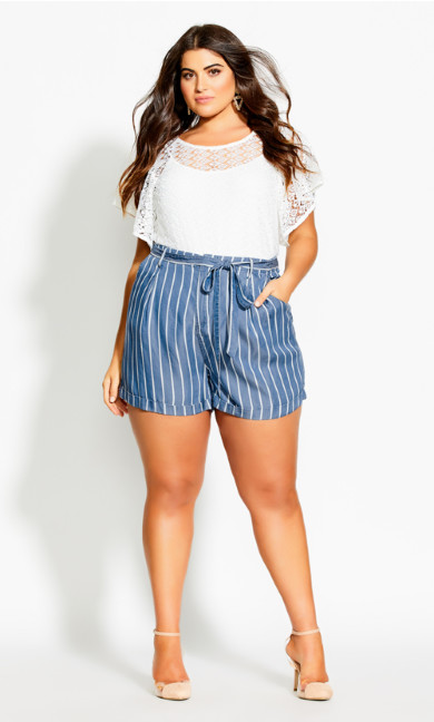 Denim Stripe Short - chambray