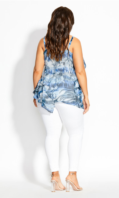Moody Floral Top - azure