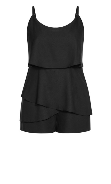 Strappy Tier Playsuit - black