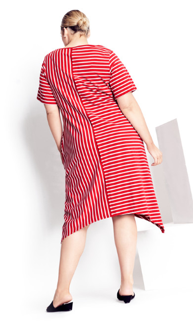 Zena Stripe Dress - red