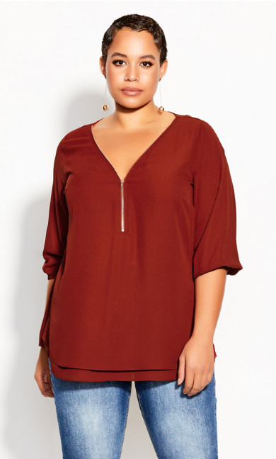 Plus Size Sexy Fling Elbow Sleeve Top - Henna
