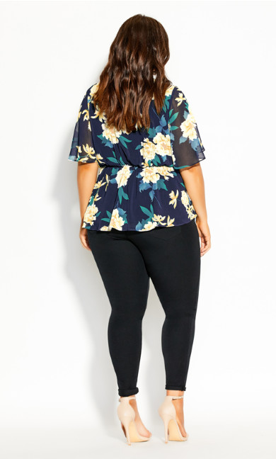 Shibuya Floral Top - navy