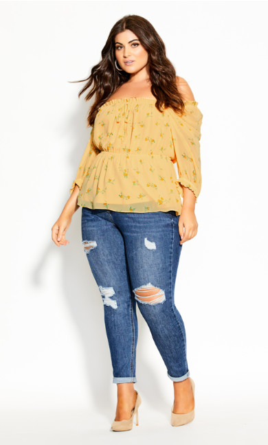 Plus Size Lemon Sprig Top - lemon