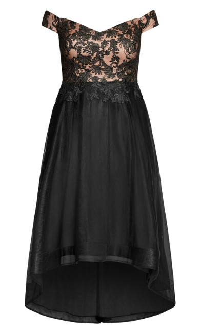 Embroidered Elegant Maxi Dress - black