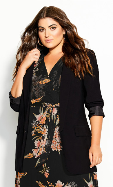 Plus Size Essence Longline Jacket - black
