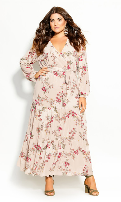 Plus Size Flower Child Maxi Dress - oatmeal
