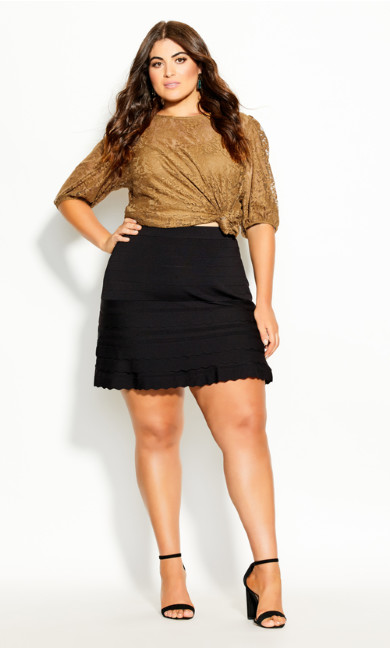 Plus Size Elegant Tiered Skirt - black