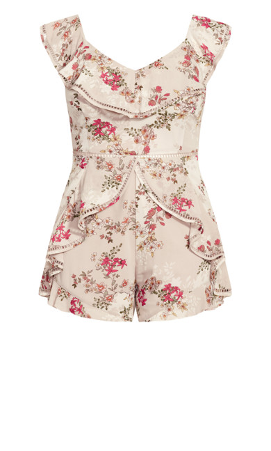 Sweet Floral Playsuit - oatmeal