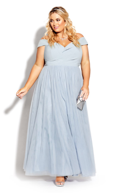 Plus Size Rippled Tulle Maxi Dress - aquamarine