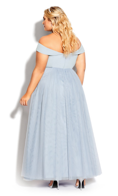 Rippled Tulle Maxi Dress - aquamarine