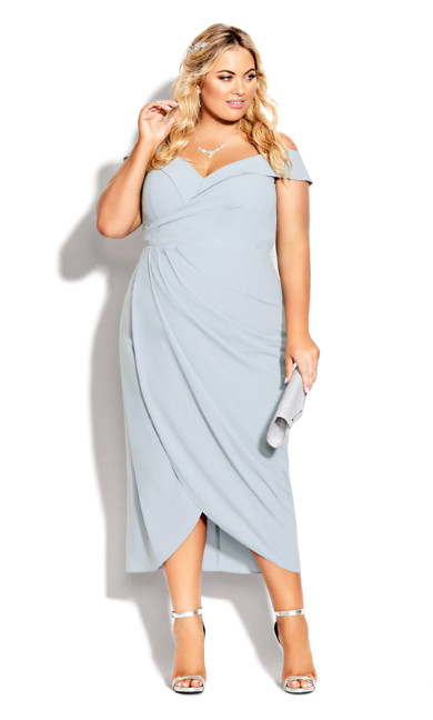 Plus Size Rippled Love Dress - aquamarine