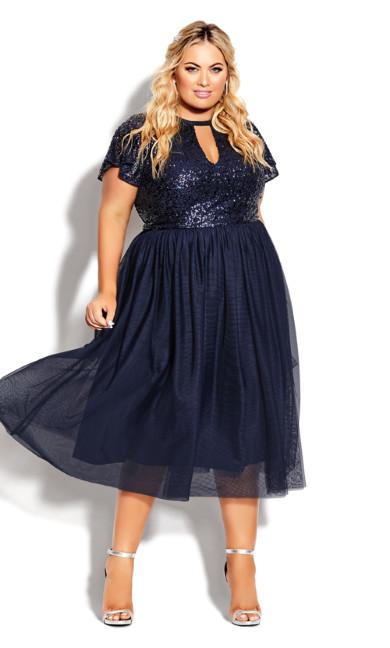Plus Size Sparkle Joy Dress - sapphire
