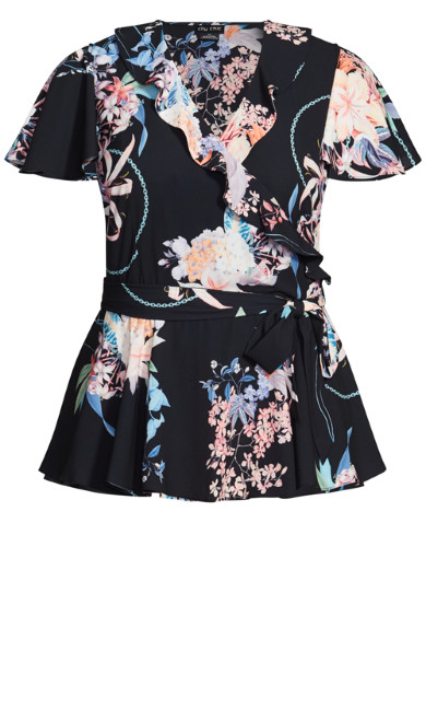 Angel Floral Top - black