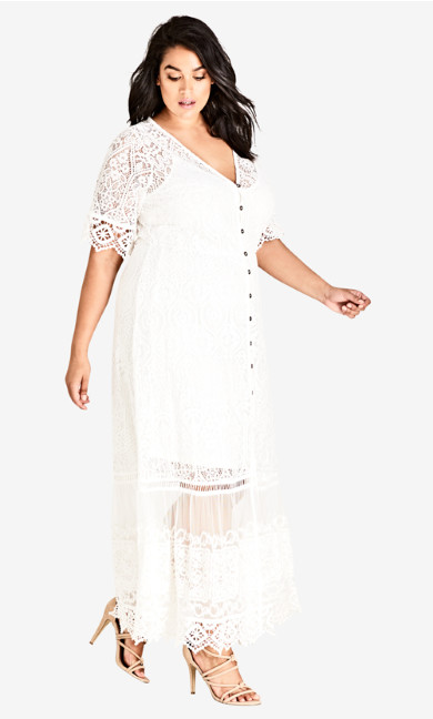 Plus Size Summer Lace Maxi Dress - ivory