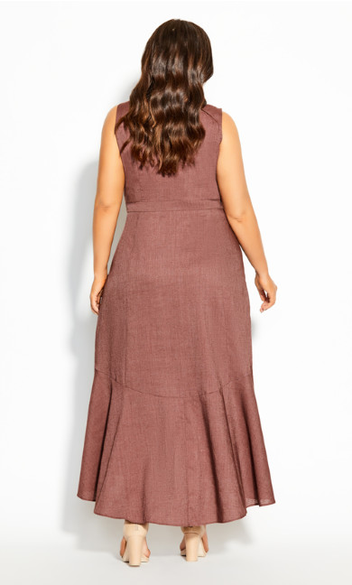Sweetie Button Maxi Dress - nutmeg