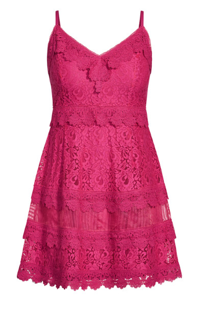 Nouveau Lace Dress - fuchsia