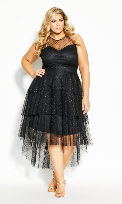 Mesh Bardot Dress - black