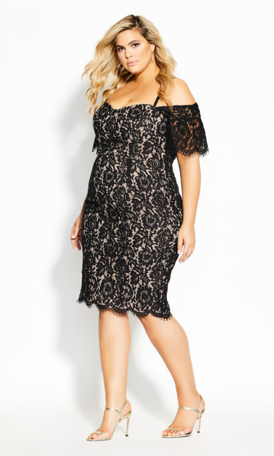 Plus Size Lace Whisper Dress - black