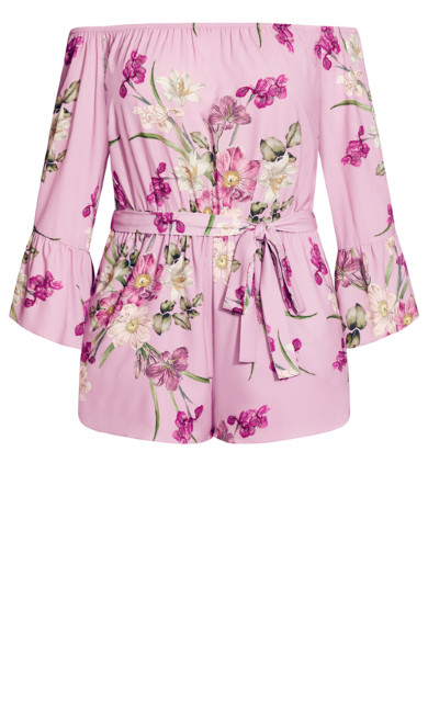 Pink Floral Playsuit - candy pink