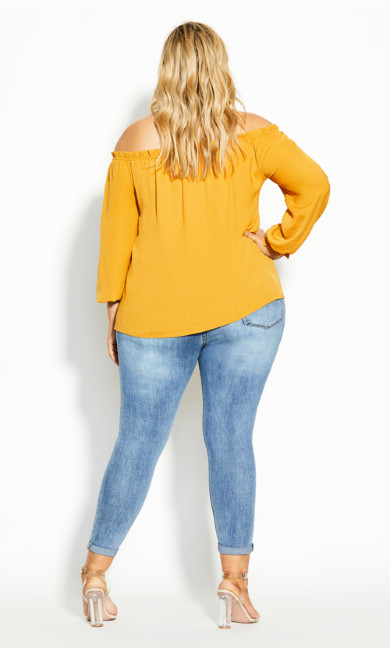 Off Shoulder Sass Top - butterscotch