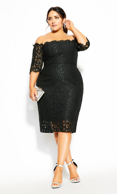 Plus Size Lace Love Dress - black