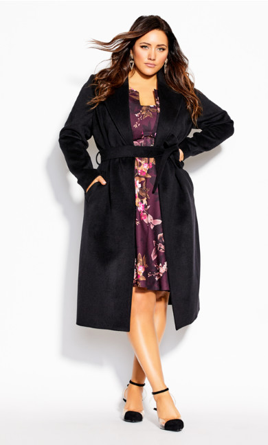 Plus Size Romantic Luxe Coat - black