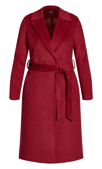 Romantic Luxe Wool Blend Coat - cerise