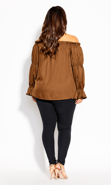 Off Shoulder Frill Top - copper