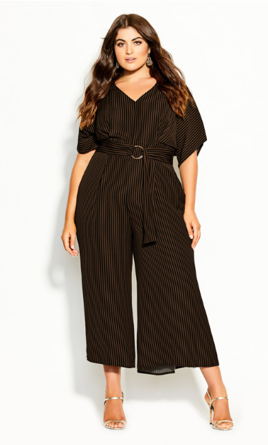 Plus Size Romance Me Jumpsuit - black