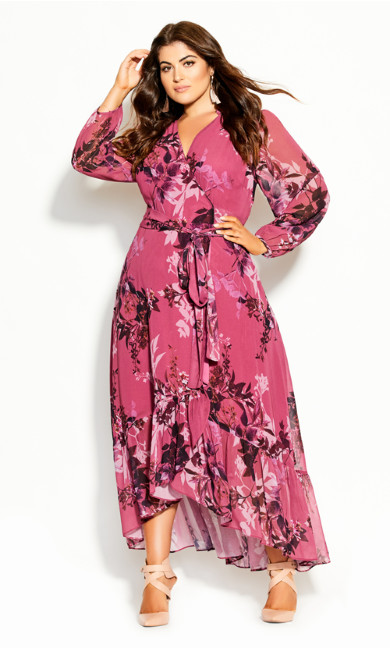 Plus Size Sunset Floral Maxi Dress - fuchsia
