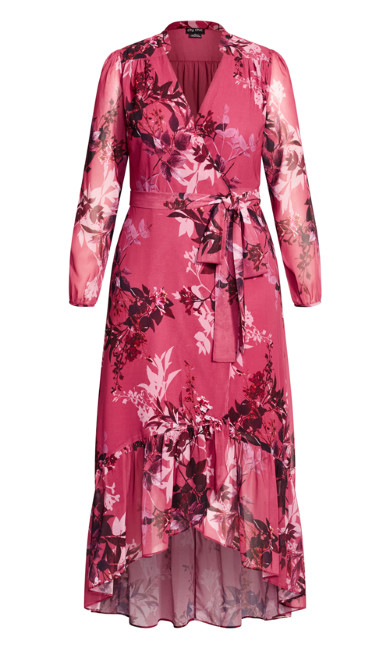 Sunset Floral Maxi Dress - fuchsia