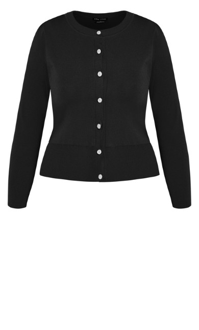 Luxe Button Cardi  - black