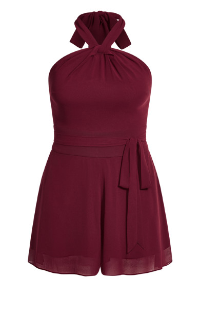 Twist Neck Playsuit - oxblood
