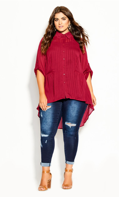 Plus Size Elegant Stripe Shirt - sangria