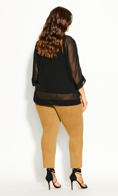 Sheer Sleeve Top - black
