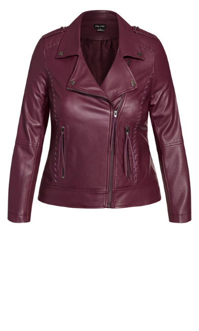 Whip Stitch Biker - plum