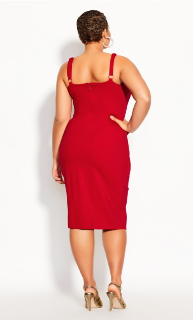 Belted Detail Dress - crimson