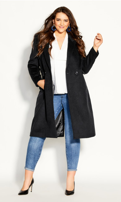 Plus Size Luxe Lover Wool Blend Coat - black