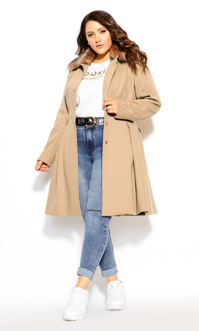 Plus Size Blushing Belle Coat - taupe