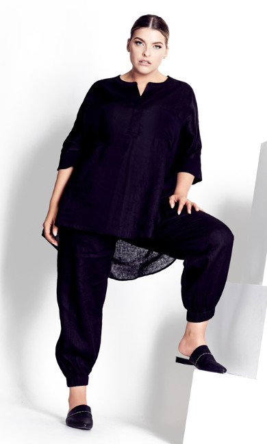 Plus Size Linen Trim Tunic - black