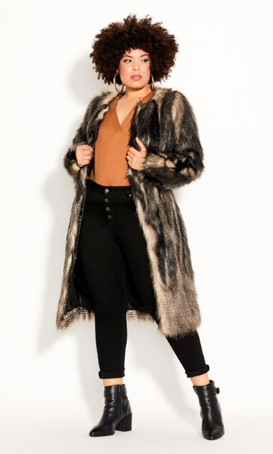 Plus Size 70's Diva Coat - black
