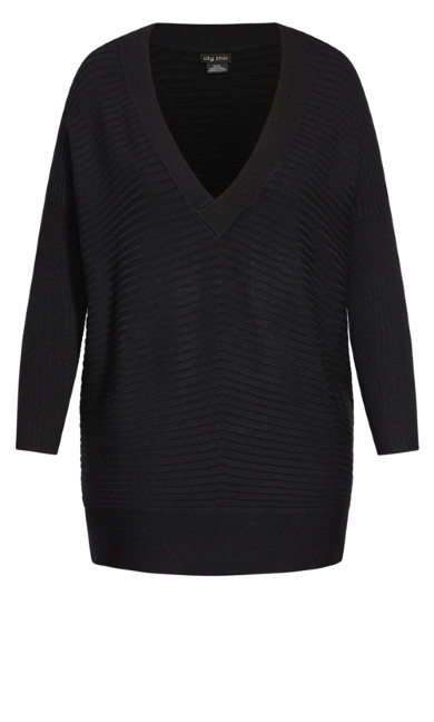Ribbed V Neck Jumper - black