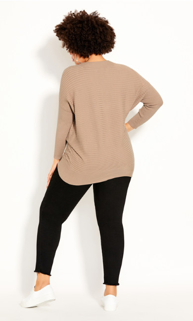Ribbed V Neck Jumper - taupe