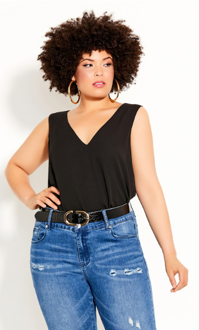 Plus Size Double Layer Top - black