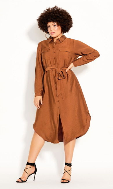 Plus Size Belted Love Dress - ginger