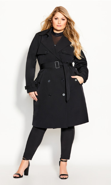 Plus Size Utility Trench - black