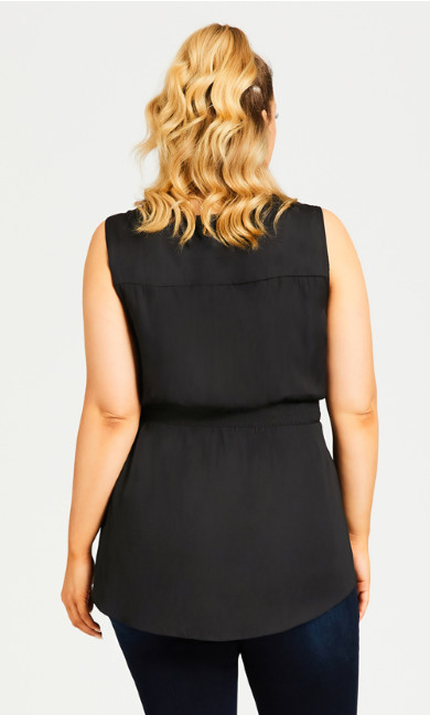 Embroidered Insert Top - black