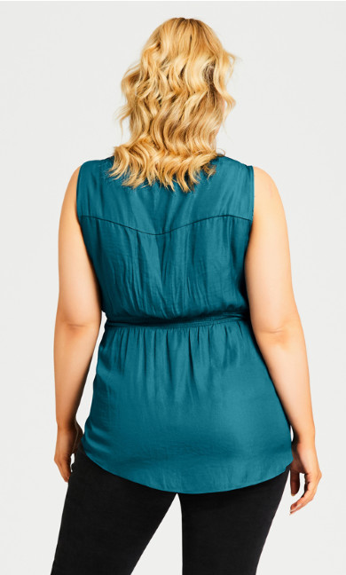 Embroidered Insert Top - teal